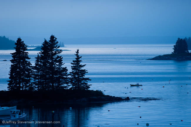 Twilight Rainstorm And Kayaker, Port Clyde Harbor, Maine