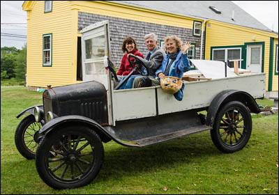 Dory Kulwin, The Humble Farmer and Dana Trattner in the 1919 Model T.