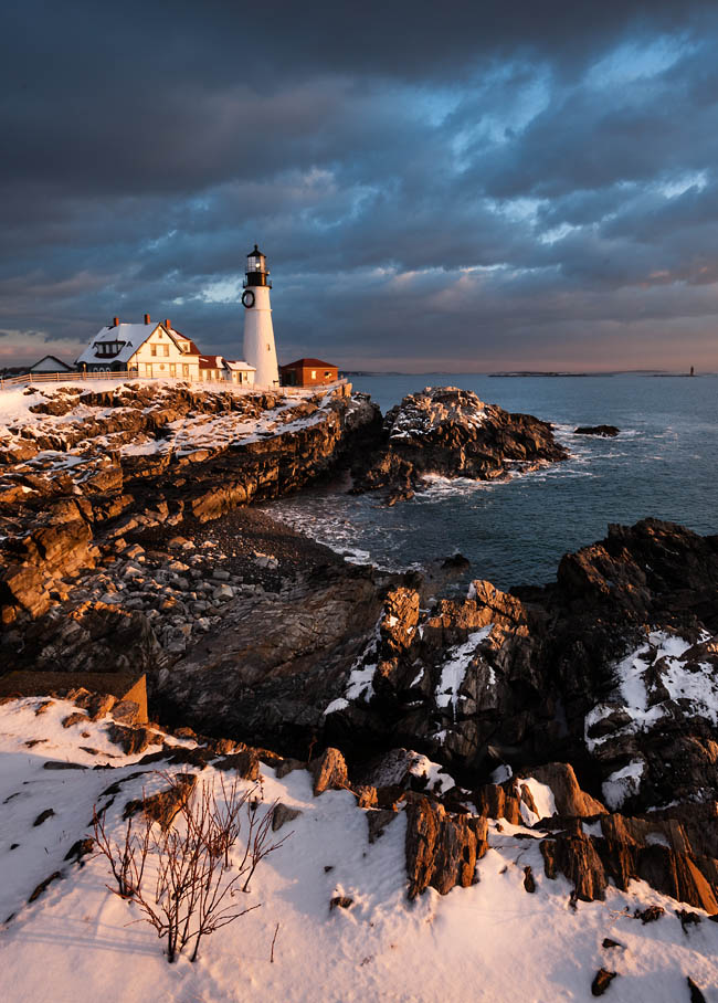 Dawn January 1, 2013, Portland head Light, Fort Williams, Cape Elizabeth, Maine