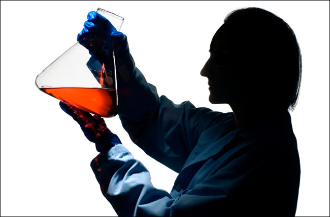 A technician holds a flask of cell medium at the Bioprocessing, Inc., production lab in Portland, Maine.